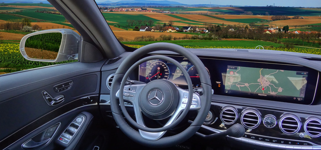 Mercedes S-Class with car hand controls for paraplegic driver